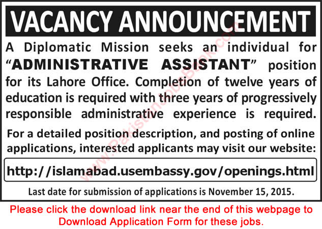 Admin Assistant Jobs in US Embassy Lahore 2015 November Application Form Download Latest