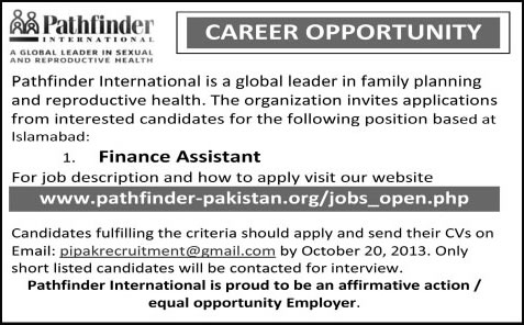 finance assistant jobs in islamabad 2013 latest at pathfinder international pakistan