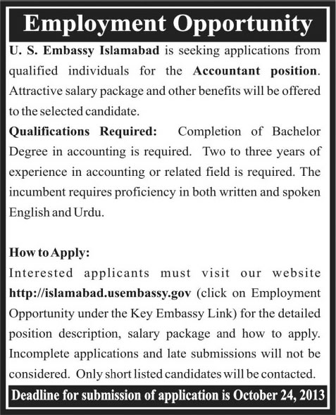 Us embassy islamabad jobs 2013 october for accountant in for Consulate jobs
