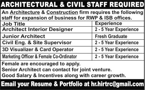 Architects civil engineer marketing officer 3d - Interior design job advertisements ...