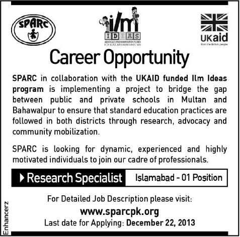 Research Specialist Jobs in Islamabad 2013 December at SPARC