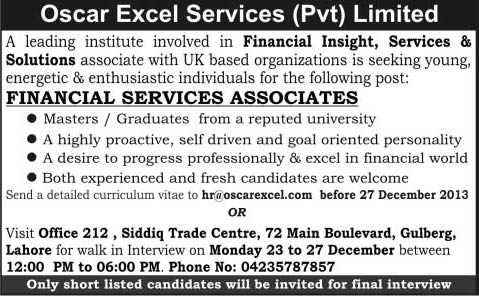 oscar excel services pvt limited lahore jobs 2013 december for