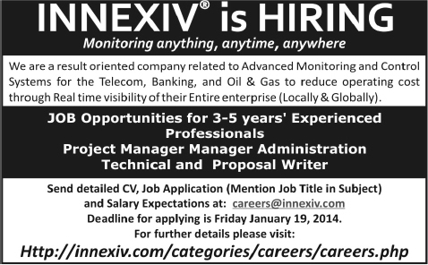 Innexiv Pvt Ltd Jobs 2014 For Project Manager Technical