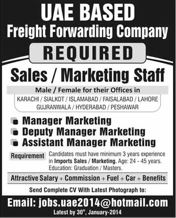 Sales and Marketing Jobs in Pakistan 2014 at Freight Forwarding Company