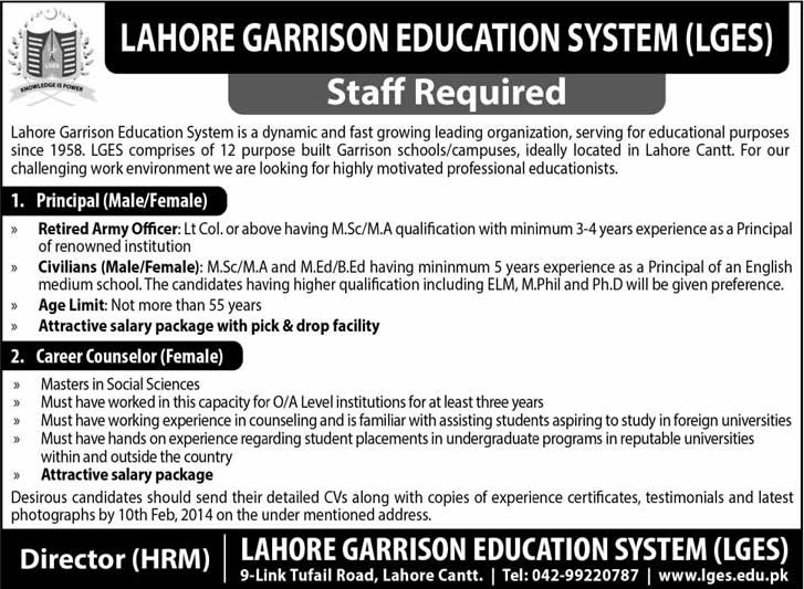Lahore Garrison Education System Jobs 2014 for Principal & Career Counselor