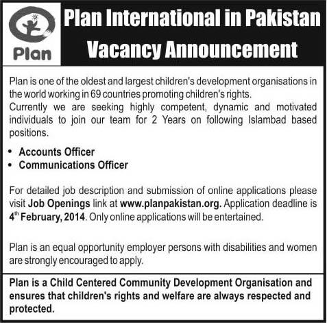 Accounts & Communication Officer Jobs in Islamabad 2014 at Plan International