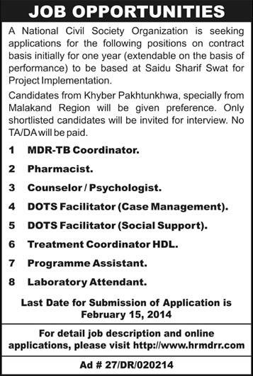 National NGO Jobs in KPK 2014 February for MDR-TB Project