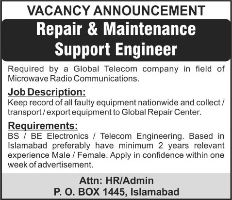 Electronics  Telecom Engineering Jobs In Islamabad  March For