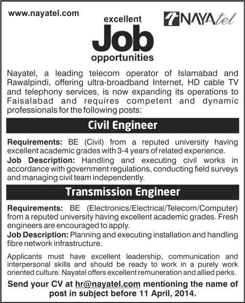 Civil / Transmission Engineering Jobs In Nayatel Faisalabad 2014