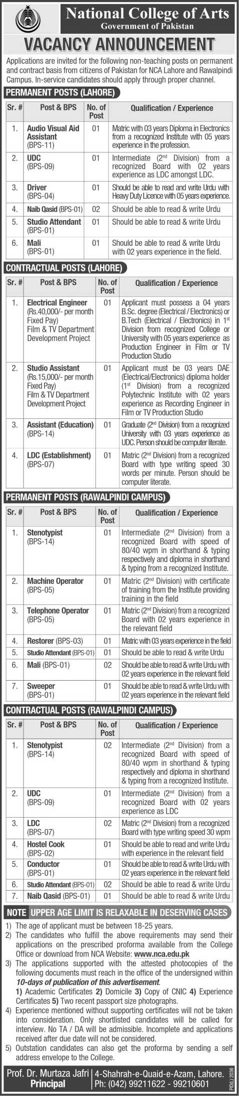 National College of Arts Jobs 2014 May Latest Advertisement