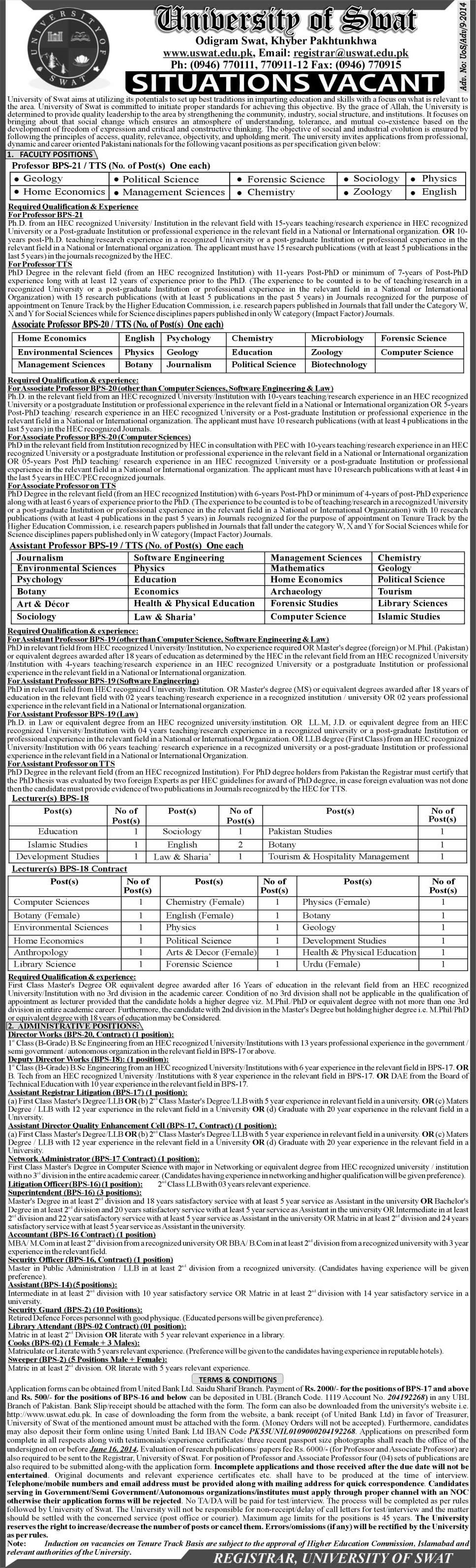 university of swat jobs for teaching faculty non university of swat jobs 2014 for teaching faculty non teaching staff