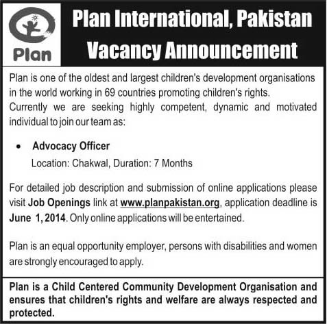 Plan International Pakistan Jobs 2014 May / June for Advocacy Officer