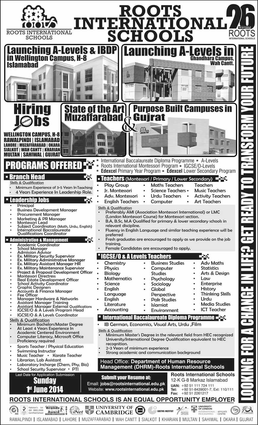 Roots School System Jobs 2014 May International Latest Advertisement