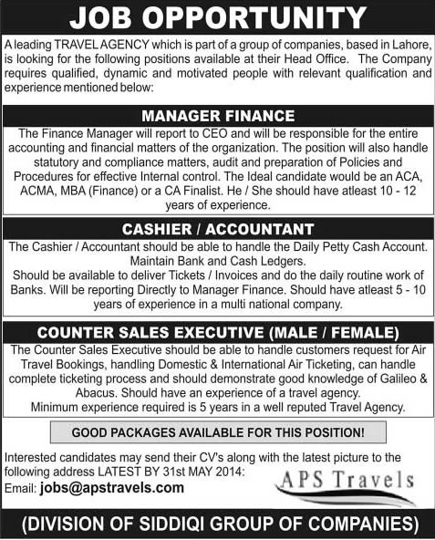Finance Manager Cashier  Accountant  Sales Executive Jobs In