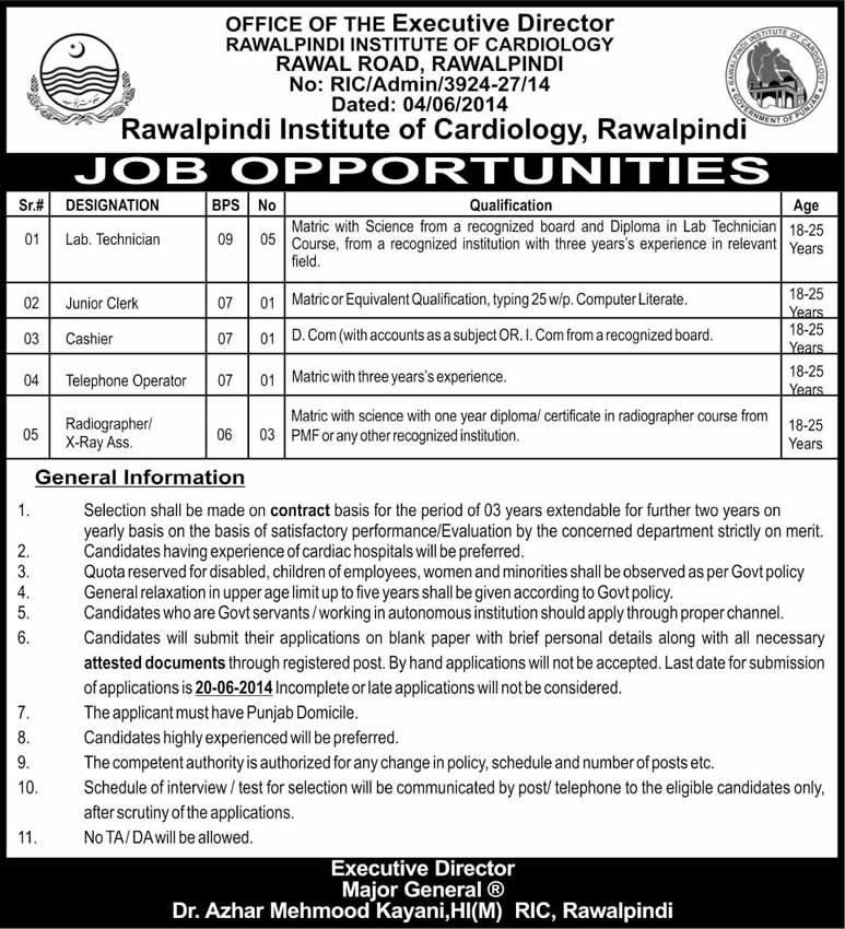 Rawalpindi Institute of Cardiology Jobs 2014 June for Lab Technicians, Radiographers & Office Staff