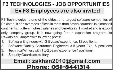 F3 Technologies Jobs 2014 June for Software Engineer, Technical Writer & Security Guards