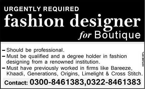 Fashion Designer Jobs in Lahore 2014 June / July at Boutique