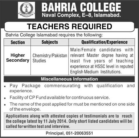 Bahria College Islamabad Jobs 2014 July for Teaching Faculty