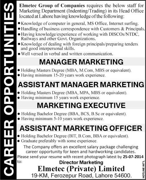 Elmetec Pvt Ltd Lahore Jobs