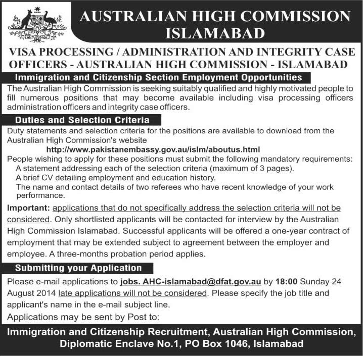 Australian High Commission Islamabad Jobs 2014 August