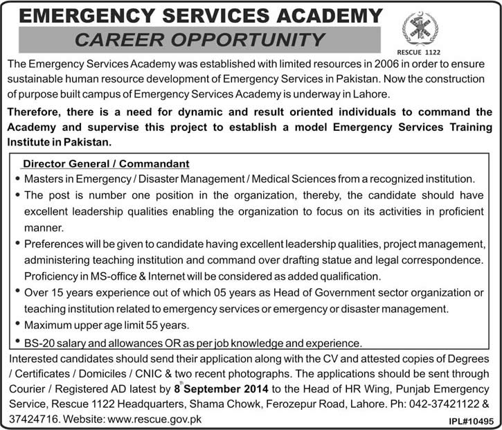 Director General / Commandant Jobs in Emergency Services Academy Lahore 2014 August Rescue-1122