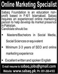 sabaq foundation islamabad jobs 2014 august for online marketing specialist - Online Marketing Specialist