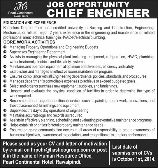 Chief Engineer Jobs In Pakistan  At Pearl Continental Hotel