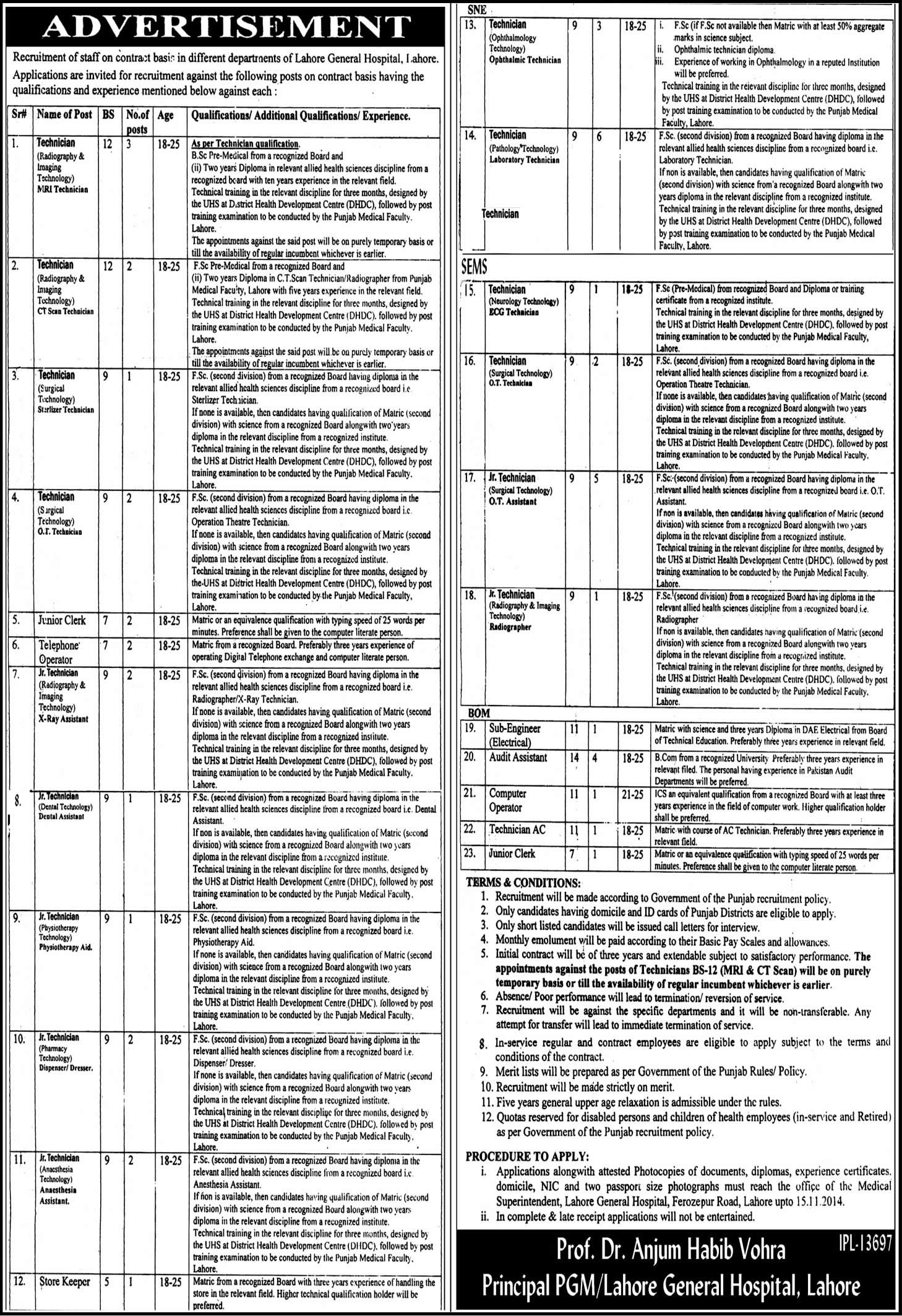 Lahore General Hospital Jobs 2014 October Latest For
