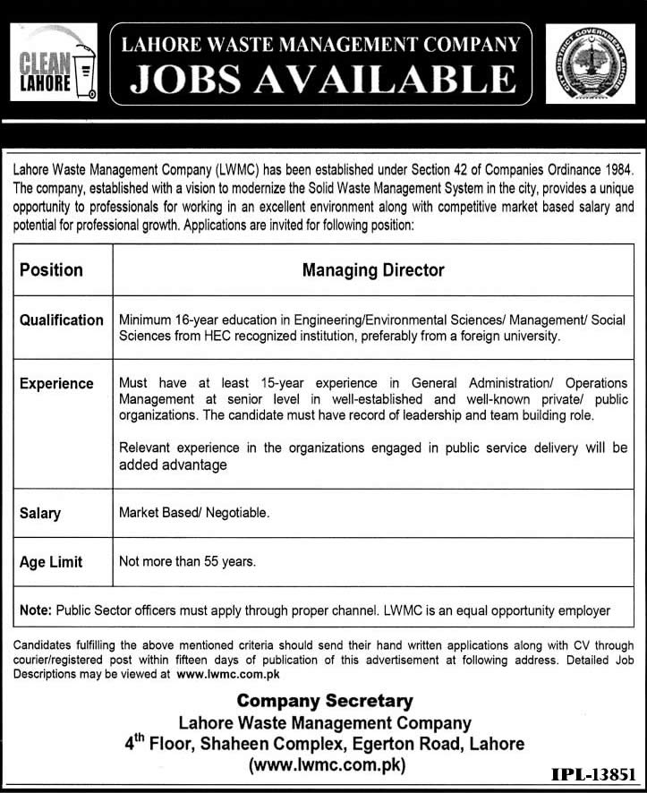 Managing Director Jobs In Lahore Waste Management Company Lwmc