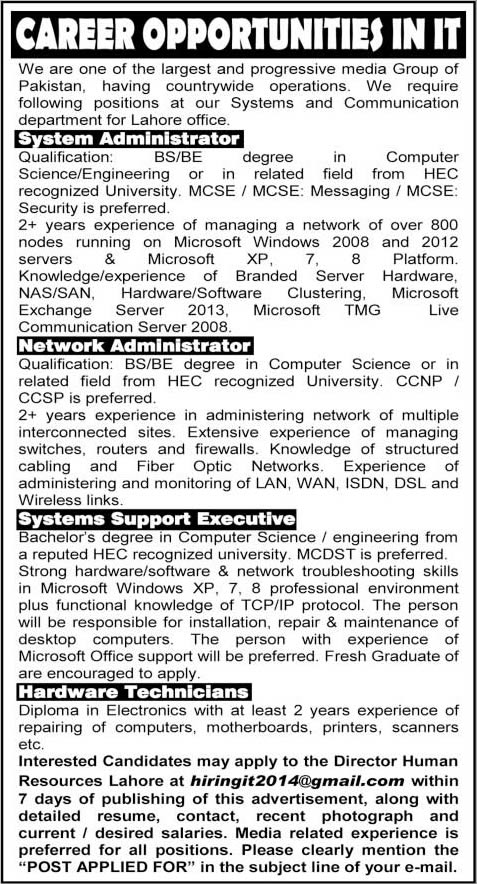 hardware technicians network system administrator jobs in lahore 2014 november