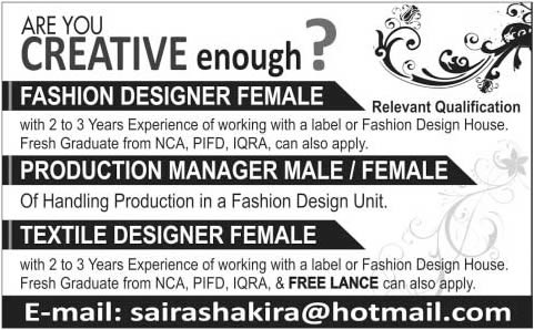 Fashion Designing Jobs In Pakistan 2014 November Freelancers In Pakistan The News On 23 Nov 2014 Jobs In Pakistan