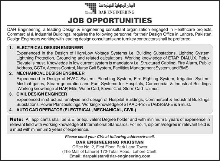 Civil Engineering Jobs in Pakistan 2014 Dar Engineering Pakistan Jobs