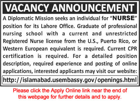 US Embassy Lahore Jobs 2015 Nurse for Diplomatic Mission Online Apply
