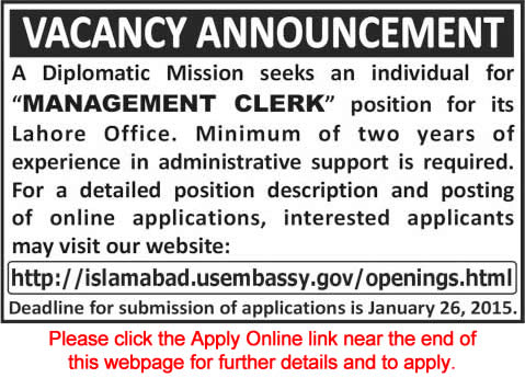 Us embassy lahore jobs 2015 apply online as management for Consulate jobs