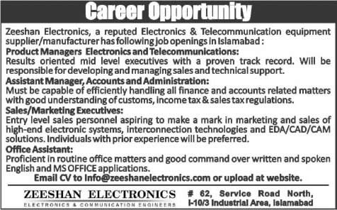 zeeshan electronics islamabad jobs 2015 managers office assistant sales marketing executives - Electronics Sales Jobs