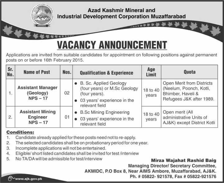 Geologist  Mining Engineer Jobs In Ajk  Azad Kashmir Mineral