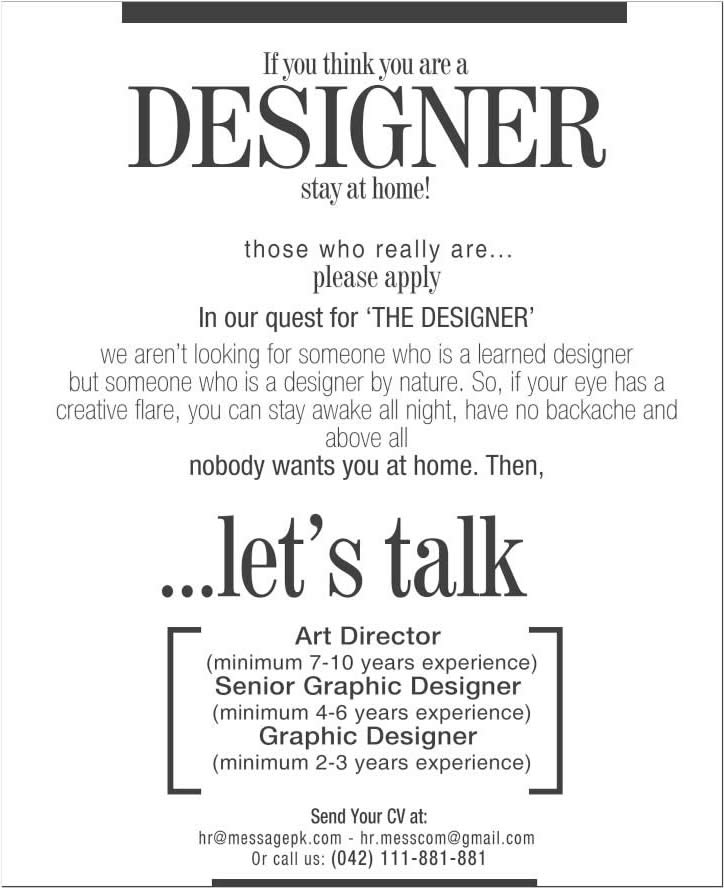 Graphic Designers & Art Director Jobs in Lahore 2015 March Message ...