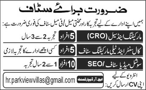 Parkview Villas Lahore Jobs 2015 March / April CRO, Call Center Agents, Telemarketing & SEO Experts