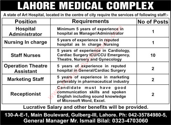 Lahore Medical Complex Jobs 2015 April Nurses, OT Assistant, Receptionist, Marketing & Other Staff