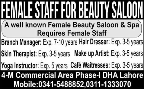 Beauty Parlor Jobs in Lahore 2015 May Beauticians, Branch Manager, Skin Therapist & Others