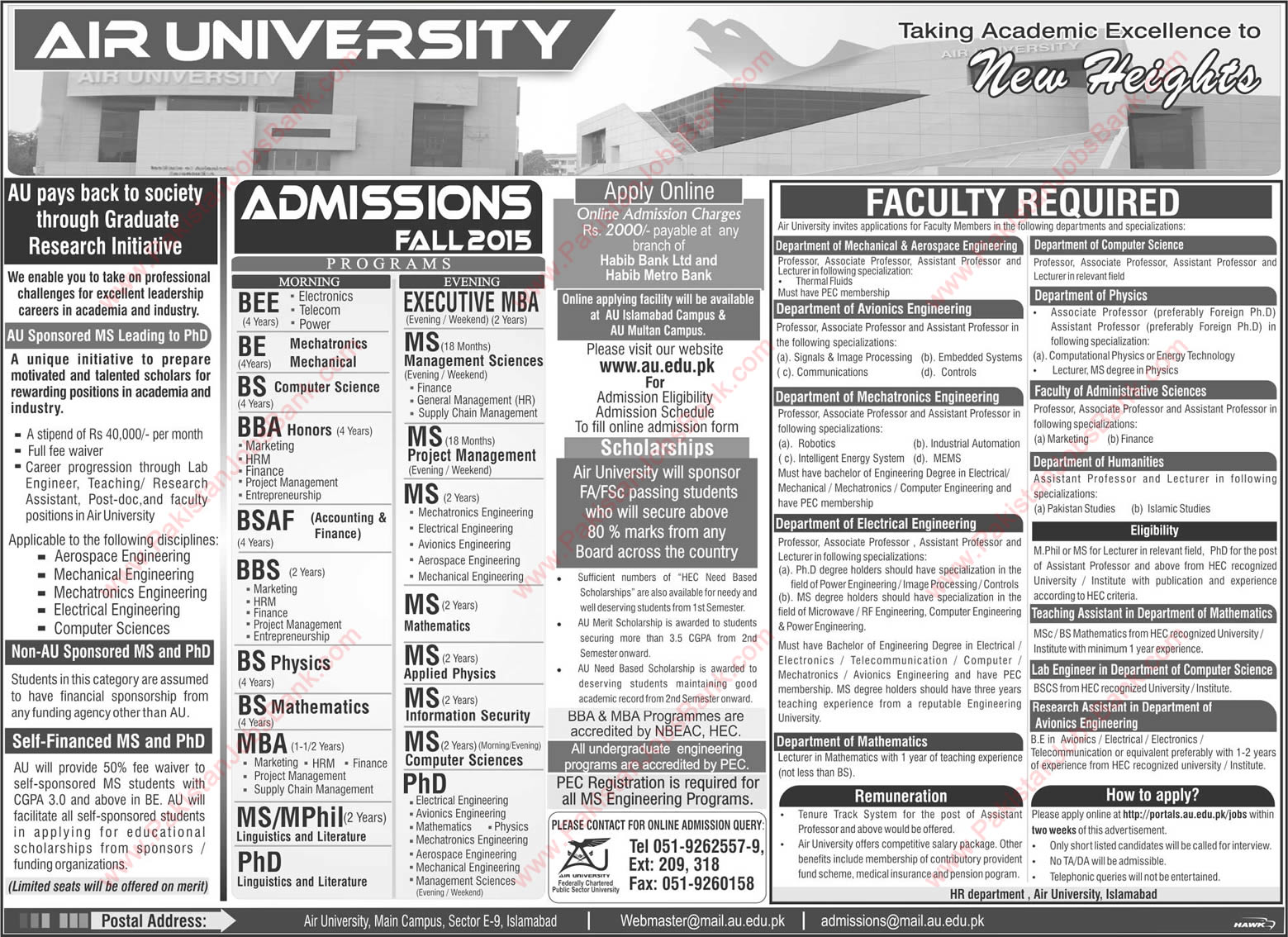 Air University Scholarships 2015 For Ms Leading To Phd In