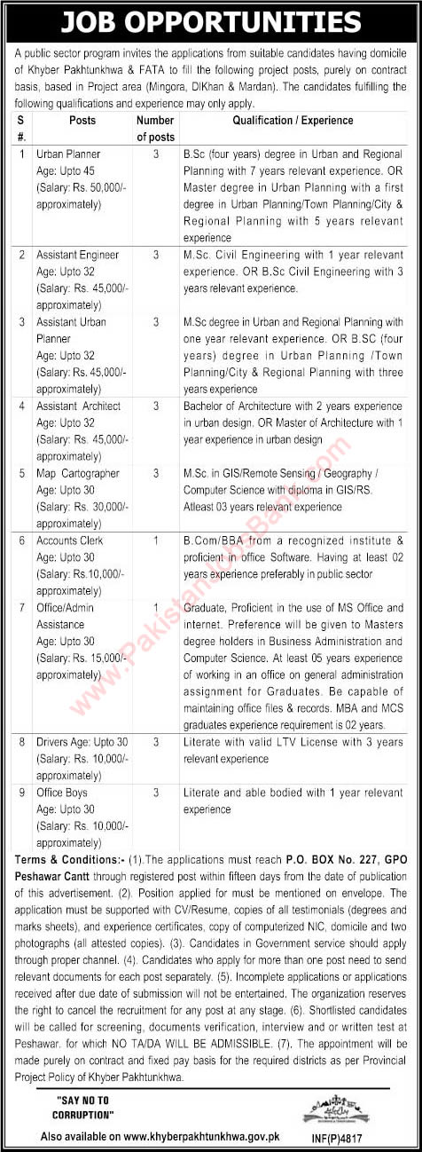 PO Box 227 GPO Peshawar Jobs 2015 October Architect, Civil Engineer, Urban Planner & Others