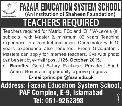 Fazaia Education System School Islamabad Jobs 2015 October for Teaching Faculty