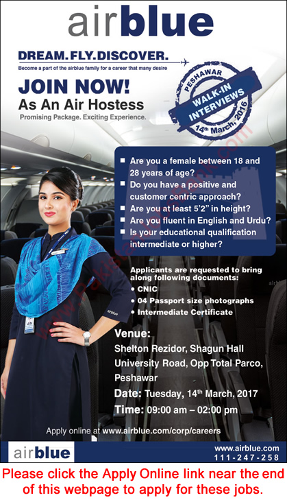 Airhostess Jobs in Air Blue 2017 March Apply Online Latest / New