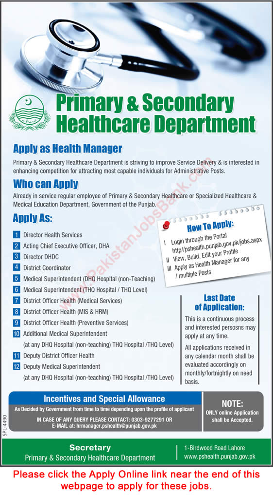 Primary and Secondary Healthcare Department Punjab Jobs October 2017 Apply Online Health Manager & Others Latest
