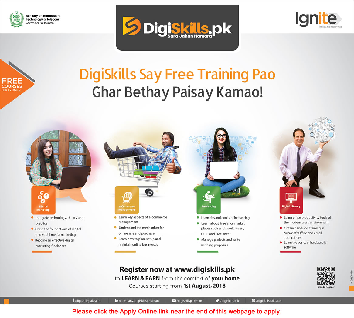 Digiskills Pakistan Free Online Courses 2018 July Apply Online Ministry of Information Technology & Telecom Latest