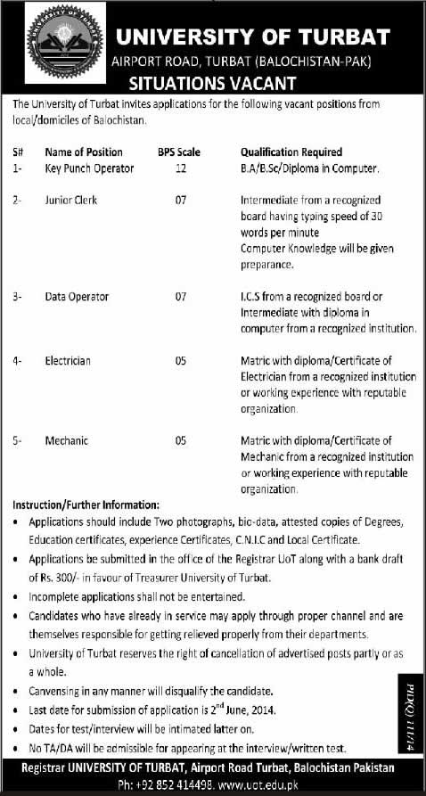 University of Turbat Balochistan Jobs 2014 May for Key Punch Operator, Junior Clerk & Other Staff
